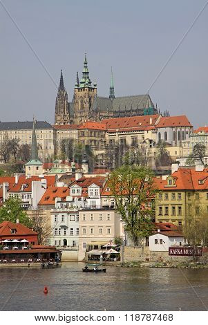 Prague, Czech Republic - April 24, 2013: View Of Buildings In Mala Strana And Prague Castle With Sai