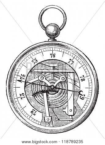 Breguet Barometer, vintage engraved illustration. Magasin Pittoresque 1873.
