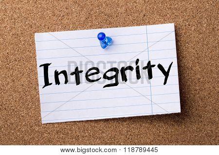Integrity - Teared Note Paper Pinned On Bulletin Board