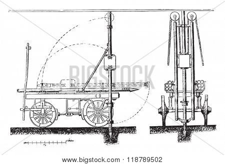 Device imagine Mr. Donnet to drive the instantaneous wells tubes, vintage engraved illustration. Magasin Pittoresque 1873.