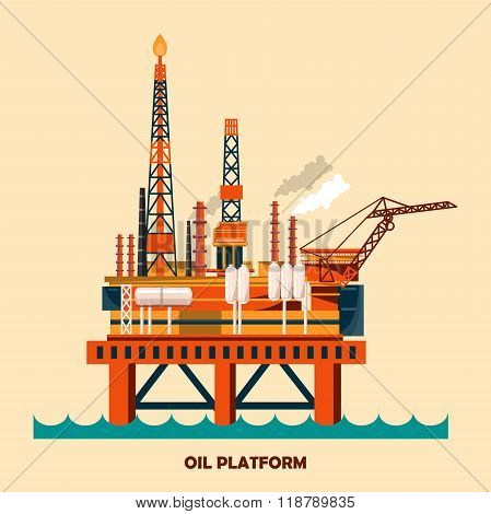 Offshore oil platform design concept set with petroleum