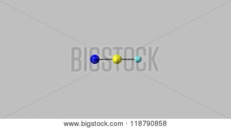 Hydrogen cyanide molecular structure isolated on grey