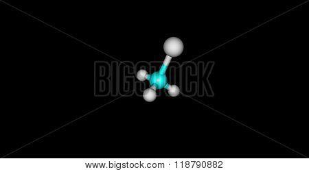 Chloromethane molecular structure isolated on black
