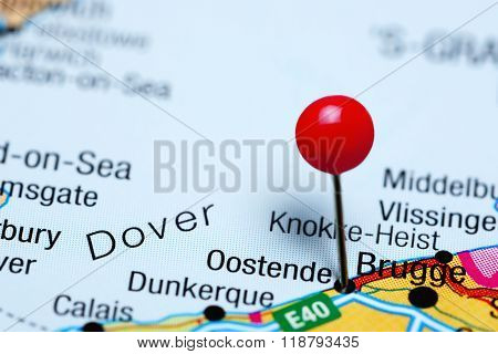 Oostende pinned on a map of Belgium