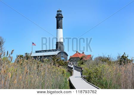 FIRE ISLAND, NY - MAY 23, 2015: Fire Island Lighthouse and Lens Room. The current tower was lit for the first time in 1858.