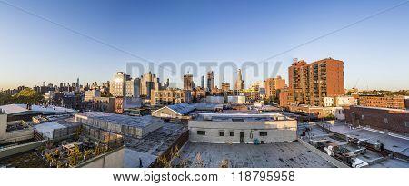 Skyline Of New York In Sunset