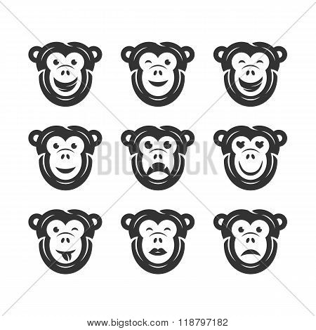Monkey smiley icons