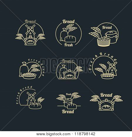 Bakery Logo Set. Pastry Logo. Bread And Baguette. Mill And Bag With Flour. Wheat, Rye Spikes. Pancak