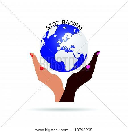Stop Racism With Planet Earth Illustration