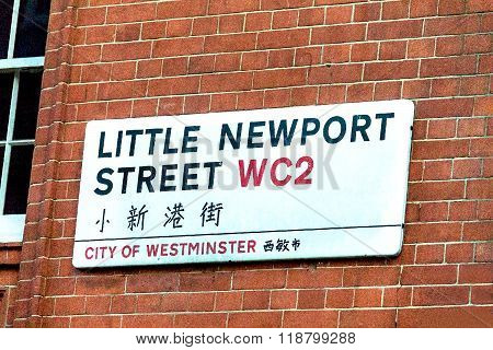 Little Newport Street  Sign In The City Of Westminster . London, Uk