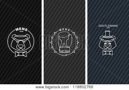 Set Of Logos For Mens Club. Bear And Butterfly Tie. Boxing Glove. Logo For Sports Club. Sign For All