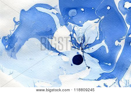 Abstract Blue Wash Drawing