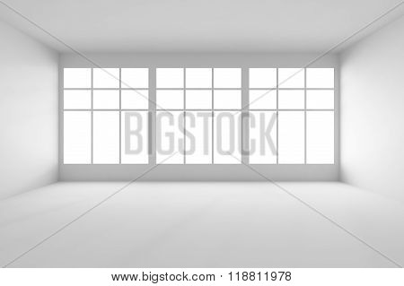 White Empty Room With Big Windows Front View