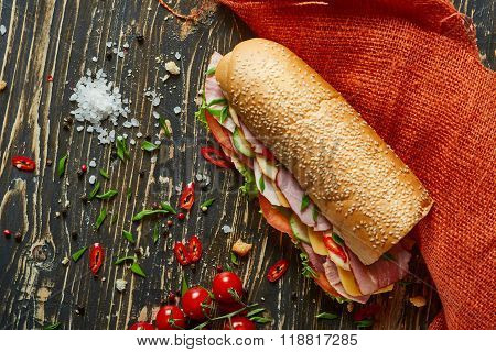 Rustic Sandwich With Set Of Ingridients