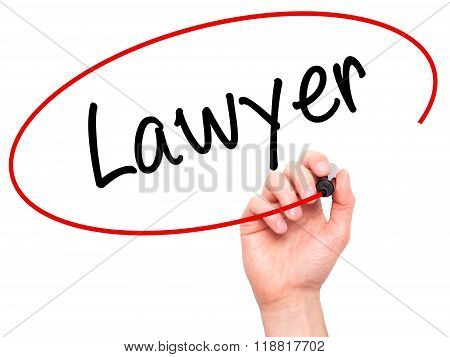 Man Hand Writing Lawyer With Black Marker On Visual Screen