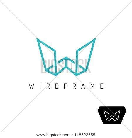 Letter W Wireframe Linear 3D Perspective Logo. Construction Outline Frame Sign.