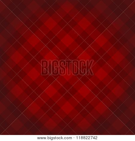 Lumberjack Checkered Diagonal Square Plaid Red Pattern Background With Dark Vignette