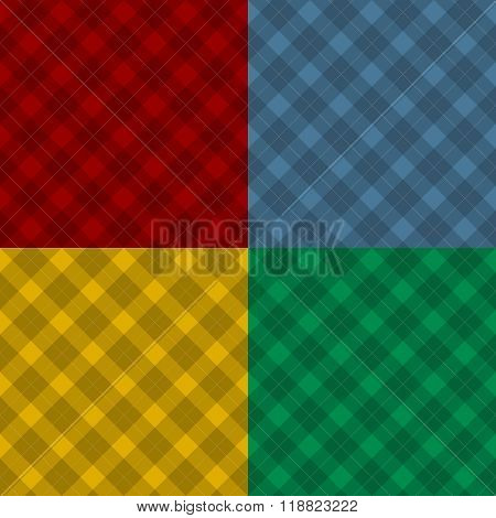 Lumberjack Four Color Checkered Diagonal Square Plaid Seamless Pattern Backgrounds Set
