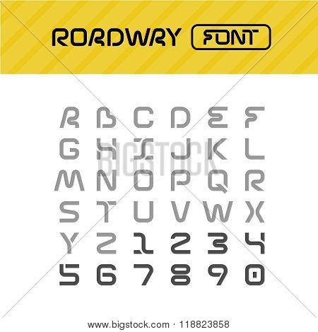 Roadway Font. Drive Way Path Style Letters Set.