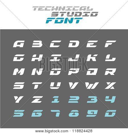 Tech Letters Stencil Font. Wide Bold Italic Techno Alphabet.