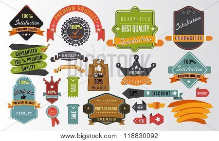 Vintage vector set of labels, banners, tags, stickers, badges elements