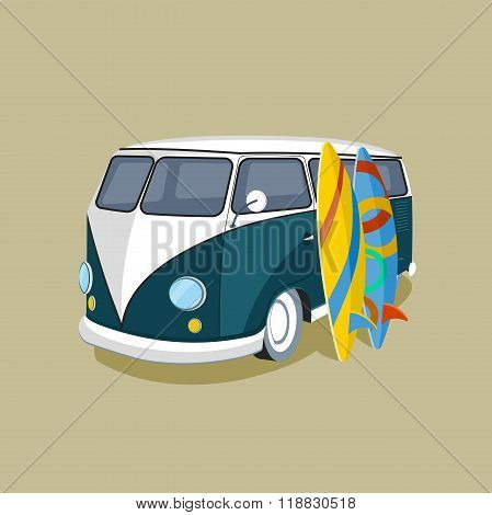 Old Car And Surfing, Sport Board, Vector Illustration.