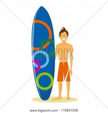 Cheerful Surfer On A White Background