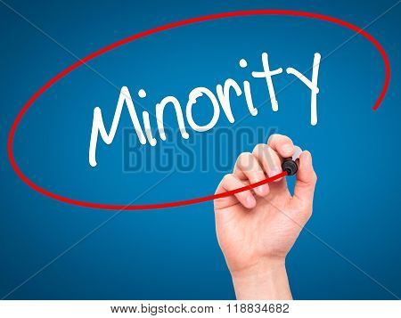 Man Hand Writing Minority With Black Marker On Visual Screen