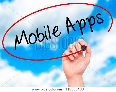 Man Hand Writing Mobile Apps With Black Marker On Visual Screen