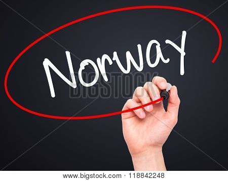 Man Hand Writing Norway  With Black Marker On Visual Screen