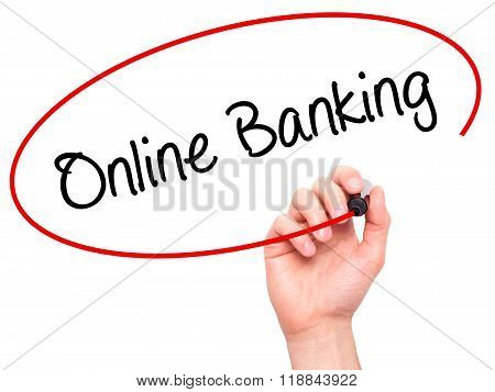 Man Hand Writing Online Banking With Black Marker On Visual Screen