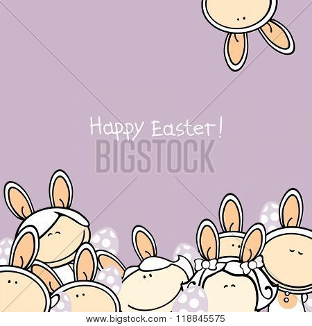 Happy Easter card with a group of kids in bunny costumes and Easter eggs (raster version)