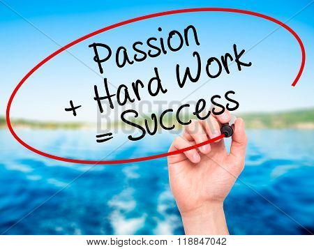 Man Hand Writing Passion + Hard Work = Success With Black Marker On Visual Screen