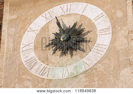 Detail Of Clock Tower - Treviso Italy