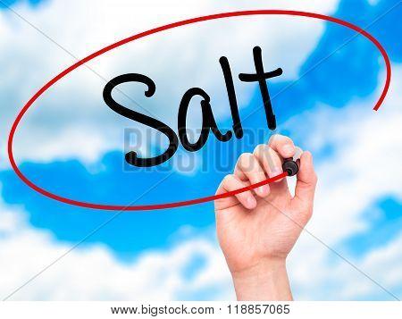 Man Hand Writing Salt With Black Marker On Visual Screen