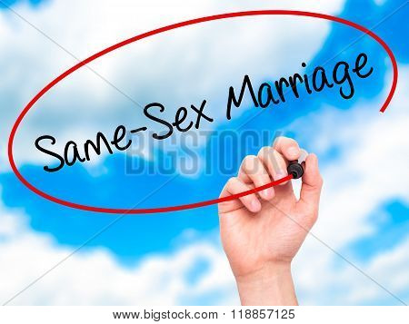 Man Hand Writing Same-sex Marriage With Black Marker On Visual Screen