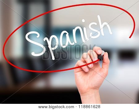 Man Hand Writing Spanish With Black Marker On Visual Screen