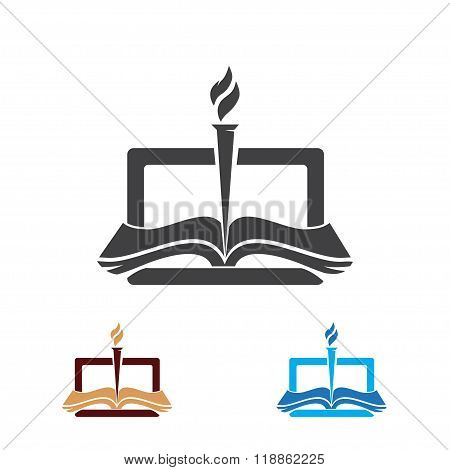 Book and torch, education or library logo