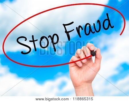 Man Hand Writing  Stop Fraud  With Black Marker On Visual Screen