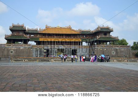View of the gate of the Imperial Forbidden Purple City in Hue. Vietnam