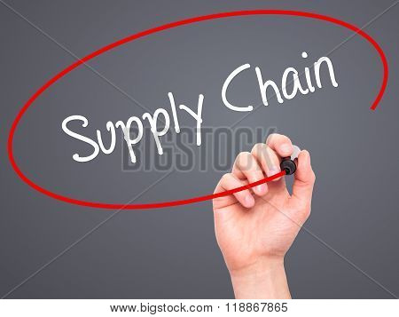 Man Hand Writing Supply Chain With Black Marker On Visual Screen