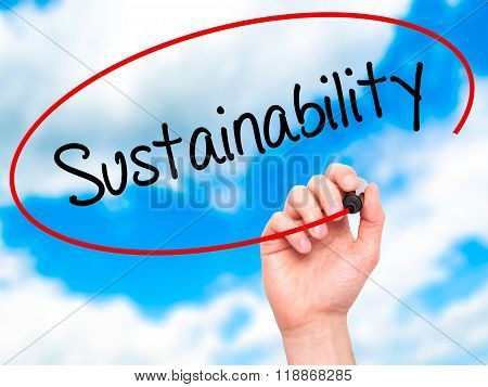 Man Hand Writing Sustainability  With Black Marker On Visual Screen