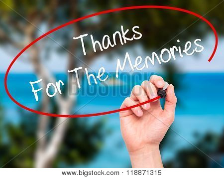 Man Hand Writing Thanks For The Memories With Black Marker On Visual Screen
