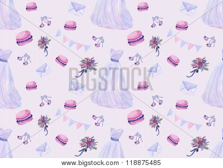 Watercolor wedding seamless pattern in popular serenity color