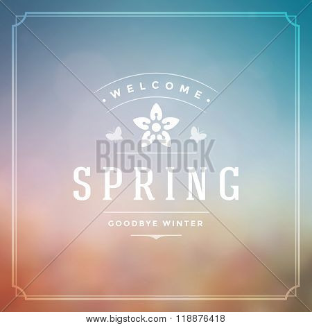 Spring Vector Typographic Poster or Greeting Card Design