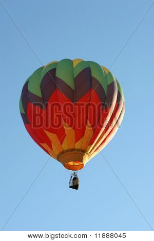 Colorful hot air balloon in the air