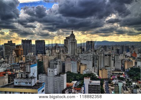 Storm coming. Sao Paulo skyline in the afternoon