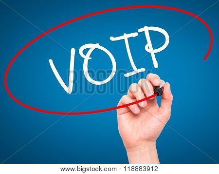 Man Hand Writing Voip With Black Marker On Visual Screen