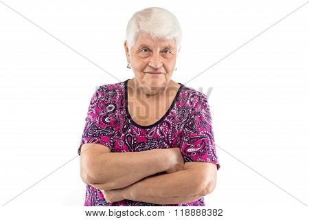 Elderly lady with arms crossed