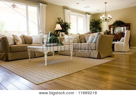 Modern tastefully decorated living room poster